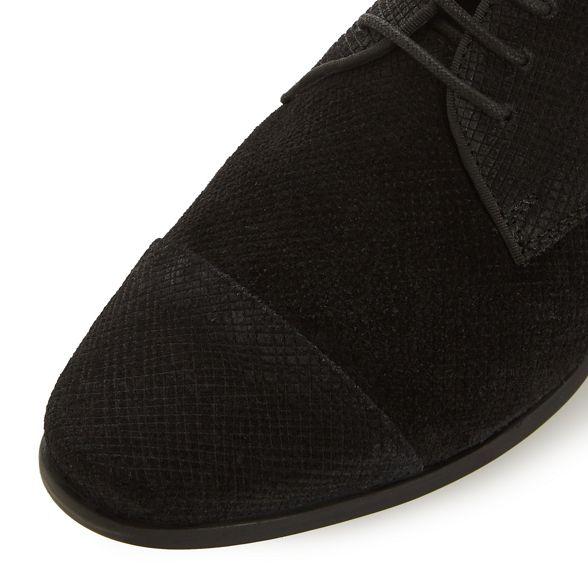 'Fentan' heel Dune block up shoes suede lace Black vEEqTIag