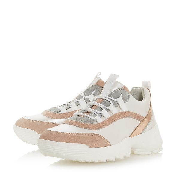 Light up pink Dune lace 'Esmarelda' leather trainers 4Ona1
