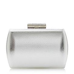 Dune - Silver 'Brights' hard case barrel clutch bag