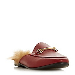 Dune - Red leather 'Geness' mule slippers