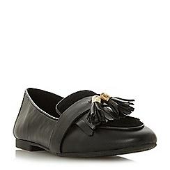 Dune - Black leather 'Gilbertt' block heel loafers