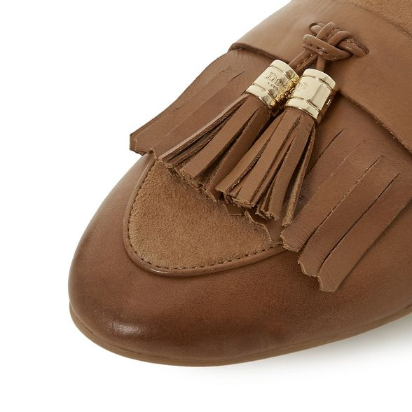 Dune 'Gilbertt' block heel Tan loafers leather RnqfOxBR