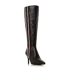 Dune - Black leather 'Siesta' mid stiletto heel knee high boots