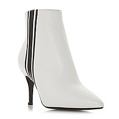 Dune - White leather 'Opaque' mid stiletto heel ankle boots