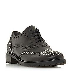 Dune - Black leather 'Francis' block heel brogues