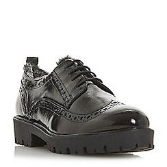 Dune - Black leather 'Fabio' block heel brogues