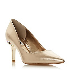 Dune - Gold leather 'Bellowes' mid stiletto heel court shoes