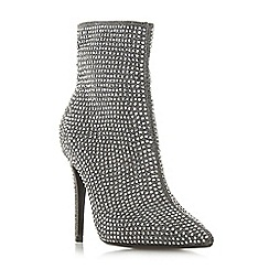 Dune - Silver 'Orrnate' high stiletto heel ankle boots