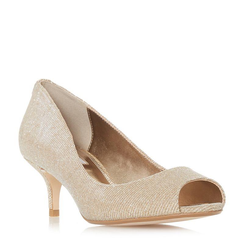 Dune - Gold Cherrie Mid Kitten Heel Court Shoes