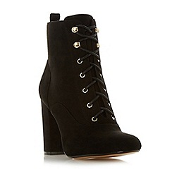 Head Over Heels by Dune - Black 'Octavias' high block heel biker boots