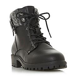 Head Over Heels by Dune - Black 'Pearls' block heel ankle boots
