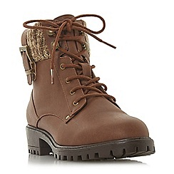 Head Over Heels by Dune - Tan 'Pearls' block heel ankle boots