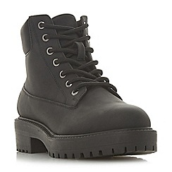 Head Over Heels by Dune - Black 'Peggy' mid block heel ankle boots