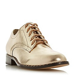 Dune - Gold leather 'Francisco' block heel brogues