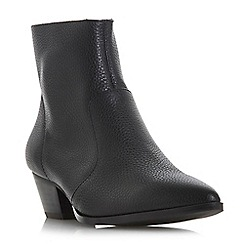 Steve Madden - Black leather 'Cafe Steve Madden' mid block heel ankle boots