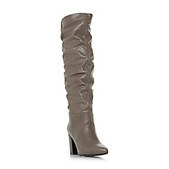 Steve Madden - Taupe leather 'Sensai' high block heel knee high boots