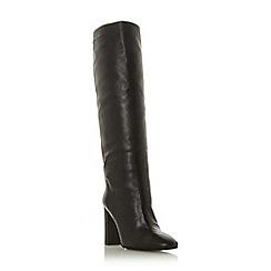 Dune Black - Black leather 'Sainte' mid stiletto heel knee high boots
