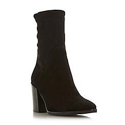 Dune Black - Black suede 'Padock' mid block heel ankle boots