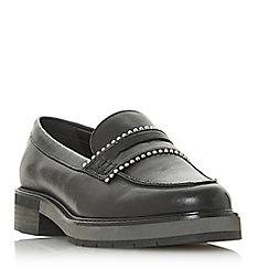 Dune - Black leather 'Gemima' block heel loafers