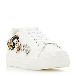 Head Over Heels by Dune - White 'Evin' lace up trainers