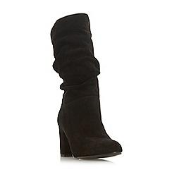 Dune - Black suede 'Rafaellie' mid block heel calf boots