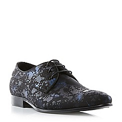 Dune - Black 'Porzana' feather print lace up gibson shoes