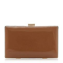 Dune - Tan 'Brocco' gold trim clutch bag