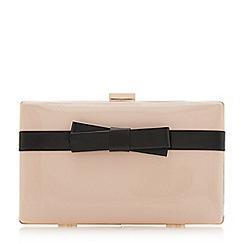 Dune - Light pink 'Bowwie' bow applique clutch bag