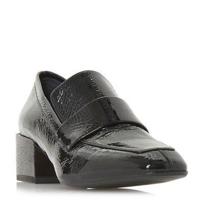 Dune Black - Black leather 'Gianer' mid block heel loafers