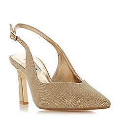 Dune - Gold 'Chorus' mid stiletto heel slingbacks