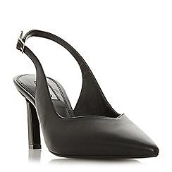 Dune - Black leather 'Chorus' mid stiletto heel slingbacks