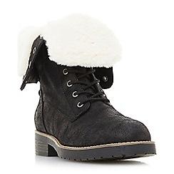 Head Over Heels by Dune - Black 'Rippley' block heel shoe boots