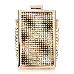 Dune - Gold 'Spectacular' micro box clutch bag
