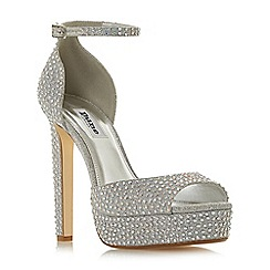 Dune - Silver 'Manhatan' high platform sandals