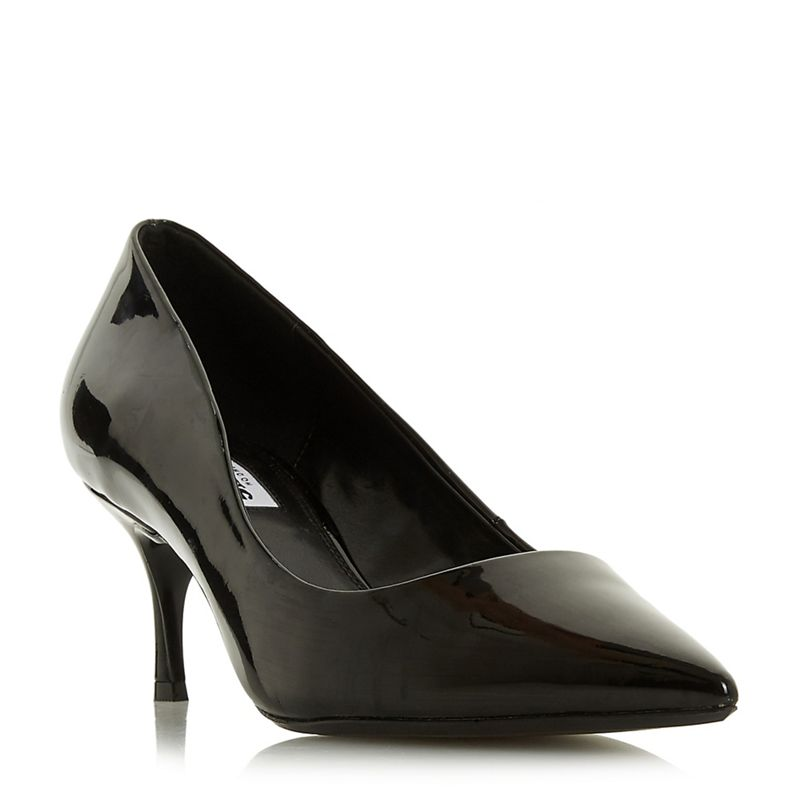 Dune - Black Astley Kitten Heel Court Shoes