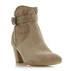 Dune Black - Taupe suede 'Portsmouth' mid block heel ankle boots