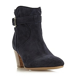 Dune Black - Navy suede 'Portsmouth' mid block heel ankle boots