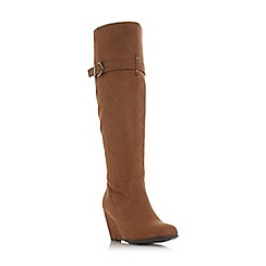 Roberto Vianni - Tan 'Tina' mid wedge heel knee high boots