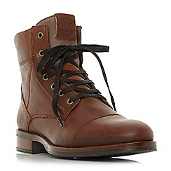 Dune - Brown 'Cognac' lace up logger boots