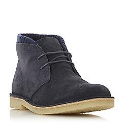 Dune - Navy 'Clove' fabric collar desert boots