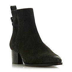 Dune - Black leather 'Proudly' mid block heel ankle boots