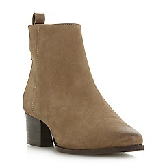 Dune - Taupe leather 'Proudly' mid block heel ankle boots