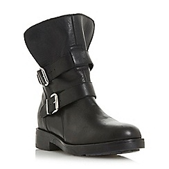 Dune - Black leather 'Rosewood' block heel calf boots