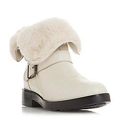 Dune - Cream leather 'Rosewood' block heel calf boots