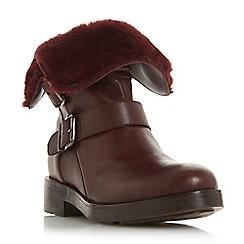 Dune - Maroon leather 'Rosewood' block heel calf boots