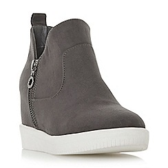Head Over Heels by Dune - Grey 'Elevated' mid wedge heel ankle boots