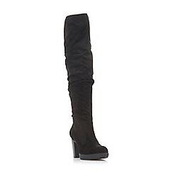 Head Over Heels by Dune - Black 'Taria' high block heel knee high boots