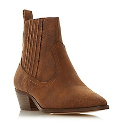 Head Over Heels by Dune - Tan 'Pavel' mid block heel ankle boots