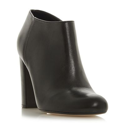 Dune - Black Black Black leather 'Outrageous' high block heel ankle boots 66bff9