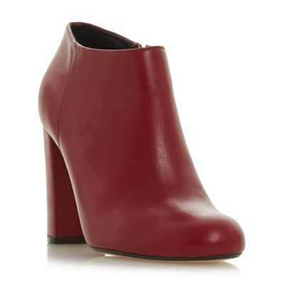 Dune   Red Leather 'outrageous' High Block Heel Ankle Boots by Dune